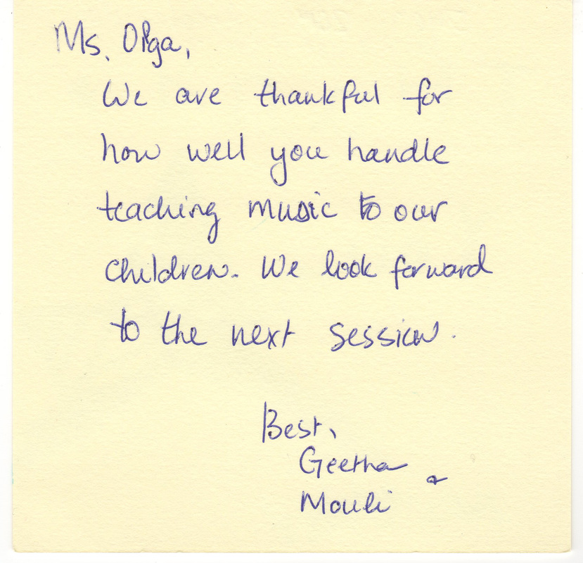 Parents' Note of Thanks